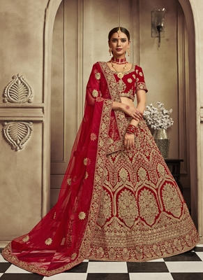 Blood-red thread embroidery velvet semi stitched lehenga with dupatta