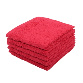 Regal Cotton Pink Face Towel 12 X12 inch Pack of 6 GSM 500