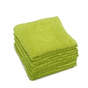 Pyramids Cotton Green Face Towel 12 X12 inch Pack of 6 GSM 450