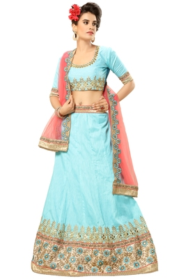 Light-Blue Embroidered Silk Semi Stitched Lehenga With Dupatta