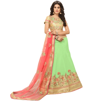 Light-Green Embroidered Silk Semi Stitched Lehenga With Dupatta