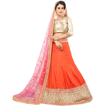 Orange Embroidered Silk Semi Stitched Lehenga With Dupatta