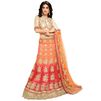 Orange Embroidered Silk Semi Stitched Lehenga With Dupatta