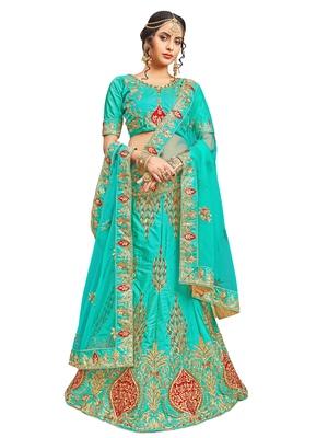 Light-Green Embroidered Silk Semi Stitched Lehenga With Dupatta