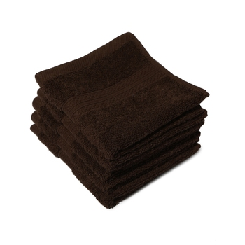 Venice Cotton Brown Face Towel 12 X12 inch Pack of 6 GSM 525