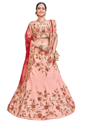Pink Embroidered Silk Semi Stitched Lehenga With Dupatta
