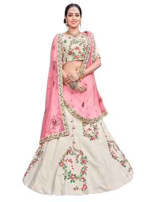 Grey Embroidered Silk Semi Stitched Lehenga With Dupatta