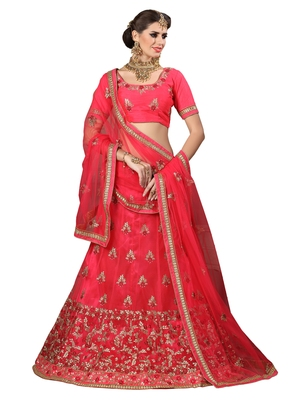 Pink Embroidered Net Semi Stitched Lehenga With Dupatta