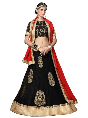 Black Embroidered Net Semi Stitched Lehenga With Dupatta