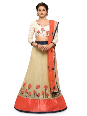 Beige Embroidered Net Semi Stitched Lehenga With Dupatta