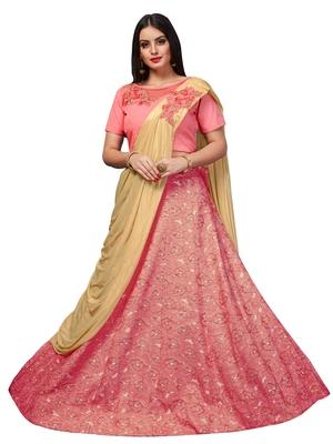 Pink Embroidered Jacquard Semi Stitched Lehenga With Dupatta