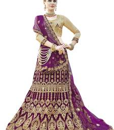 Purple embroidered velvet semi stitched lehenga with dupatta