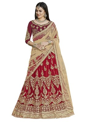 Maroon Embroidered Net Semi Stitched Lehenga With Dupatta