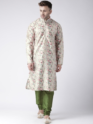 Green Printed Silk Blend Kurta Pajama