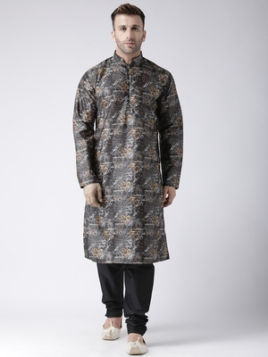 Black Printed Silk Blend Kurta Pajama