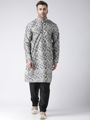Black Printed Silk Blend Kurta Pajama