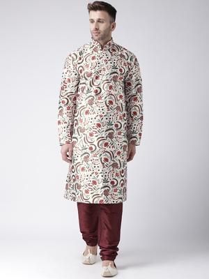 Maroon Printed Silk Blend Kurta Pajama