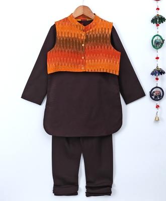 Black plain polyester kids kurta with pyjama