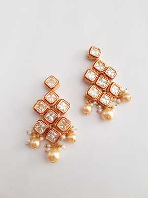 Square Ruby Earring