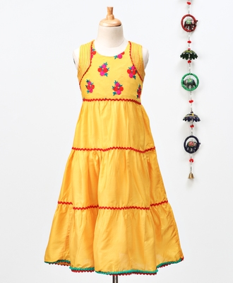 Yellow embroidered polyester kids-tops