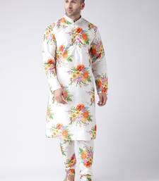 White printed silk blend kurta pajama