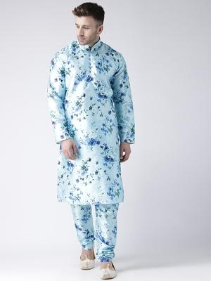 Blue printed silk blend kurta pajama