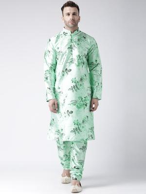Green Printed Silk Blend Kurta Pajama