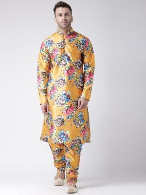 Yellow Printed Silk Blend Kurta Pajama