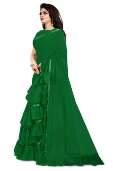 8f879773a3e Green plain georgette ruffle saree with blouse. Shop Now
