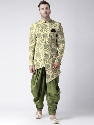Yellow Printed Polyester Indo Western Dresses