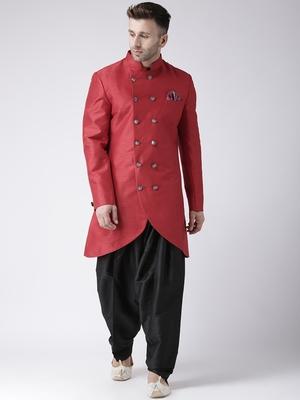 Maroon plain dupion silk indo-western-dresses