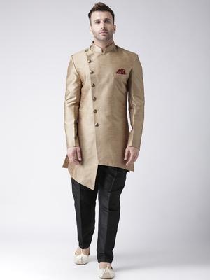 Brown plain dupion silk indo-western-dresses