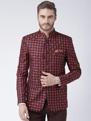 Maroon Printed Polyester Bandhgala Suit