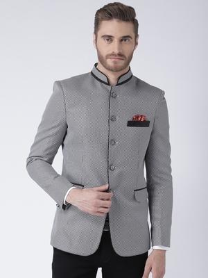 Grey printed polyester bandhgala suit