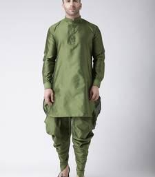 Green plain dupion dhoti kurta