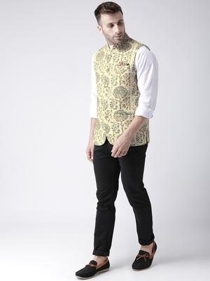 Yellow Printed Polyester Nehru Jacket