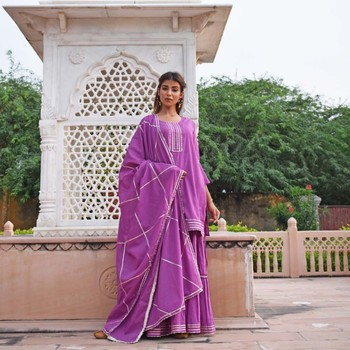 Purple Garara  Kurta & Dupatta Set
