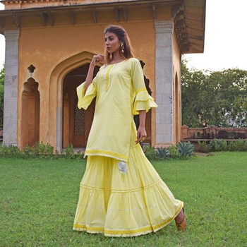 Lemon Yellow Garara & Kurta  Set