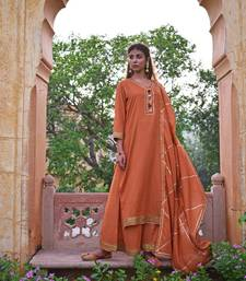 Rust Brown Garara  Kurta & Dupatta Set