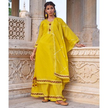 Mustard Yellow Sharara  Kurta & Dupatta Set