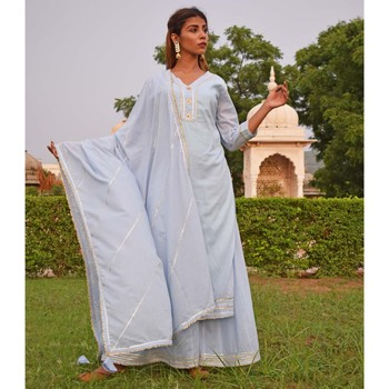 Sky Blue Sharara  Kurta & Dupatta Set