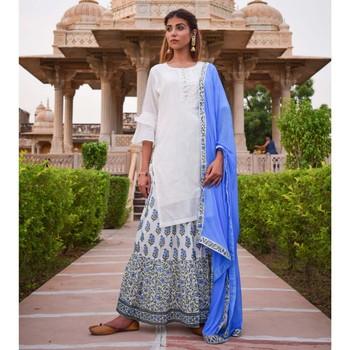 White & Blue Printed Skirt  White Kurta &  Dupatta