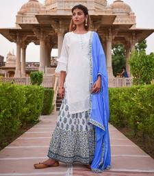 White & Blue Printed Skirt  White Kurta &  Dupatta