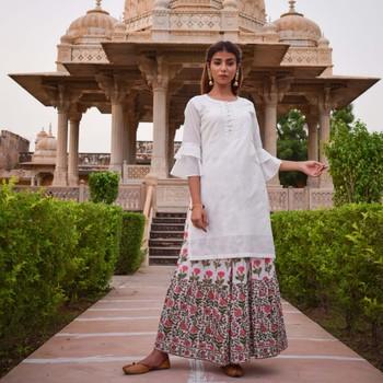 Set Of White & Peach Printed Skirt and White Silk Kurta
