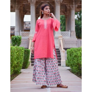 Set Of Multi Color Floral Print Garara and Pink  Kurta