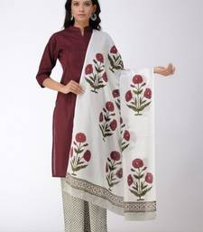 Set of Maroon Pleated Kurta with Block Printed Pants & Dupatta