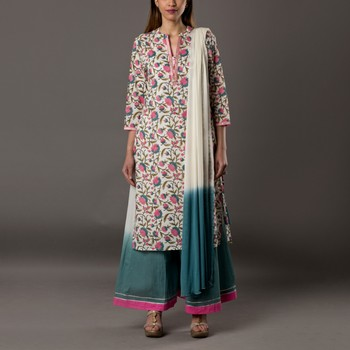 Set of Floral print Kurta with Shaded Palazzo & Dupatta