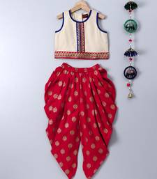 Beige printed polyester top and dhoti for girls