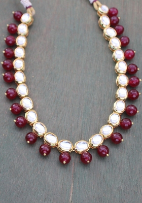 Kundan And Red Onyx Necklace String