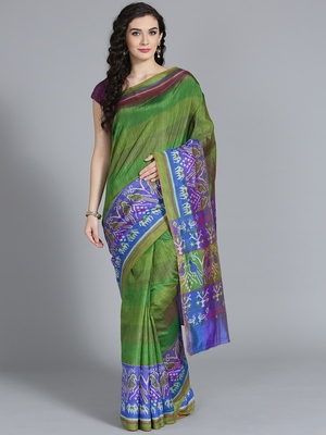 Dark green printed art silk saree with blouse